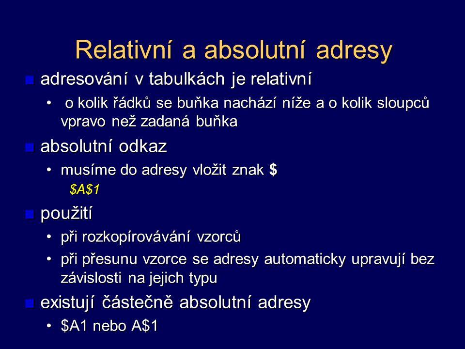 Relativní a absolutní adresy