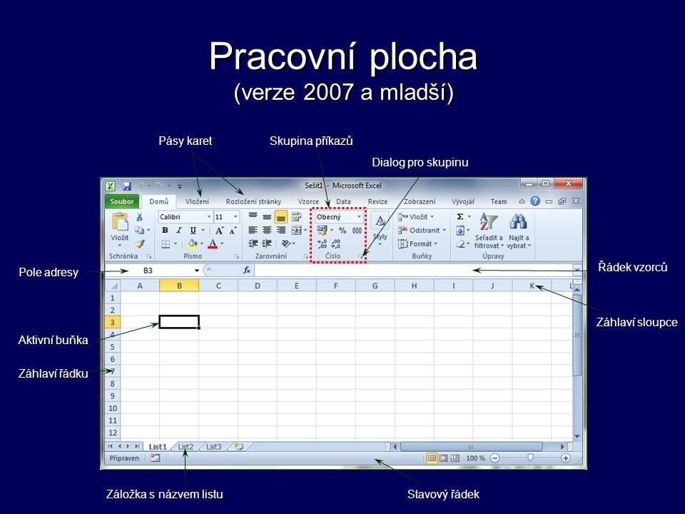 Pracovní plocha (verze 2007 a mladší)