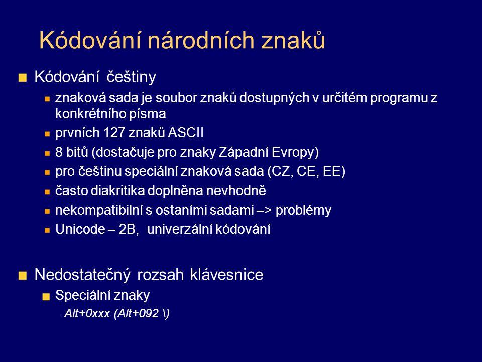 Kódování národních znaků