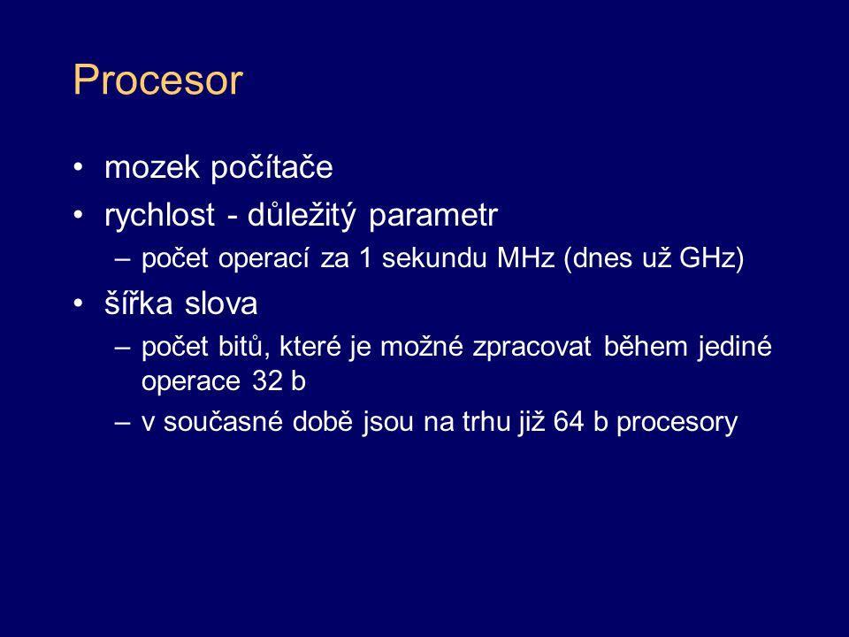 Procesor mozek počítače rychlost - důležitý parametr šířka slova