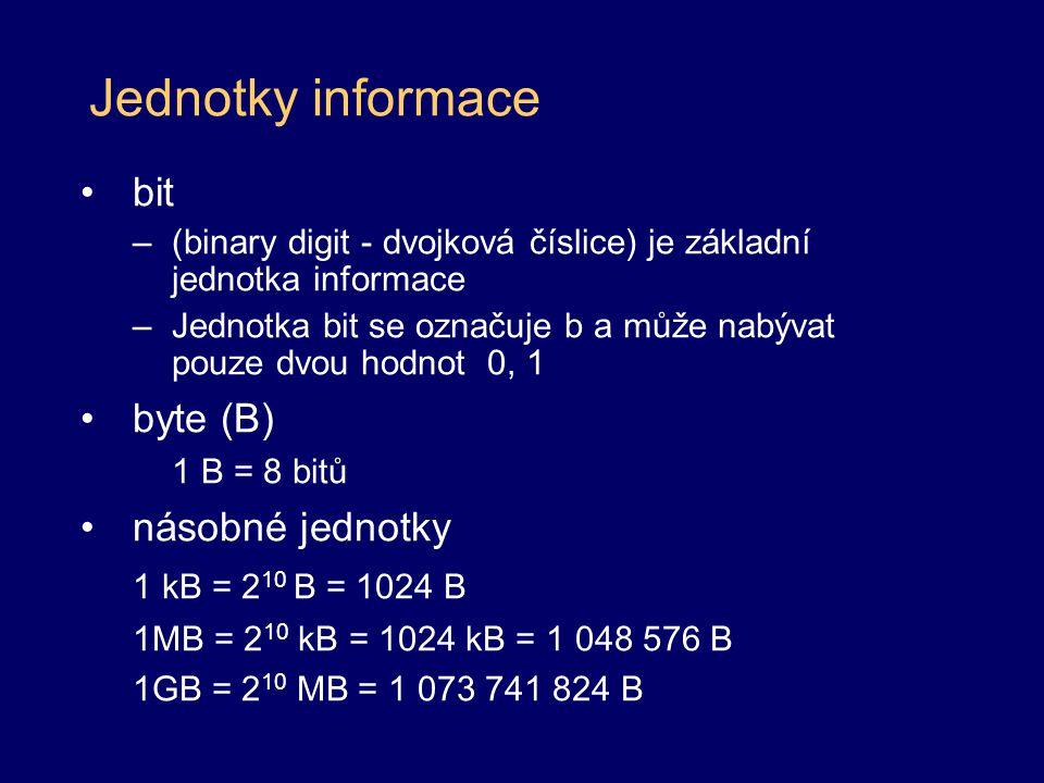 Jednotky informace bit byte (B) násobné jednotky 1 kB = 210 B = 1024 B