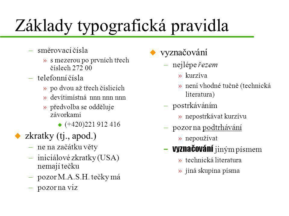 Základy typografická pravidla