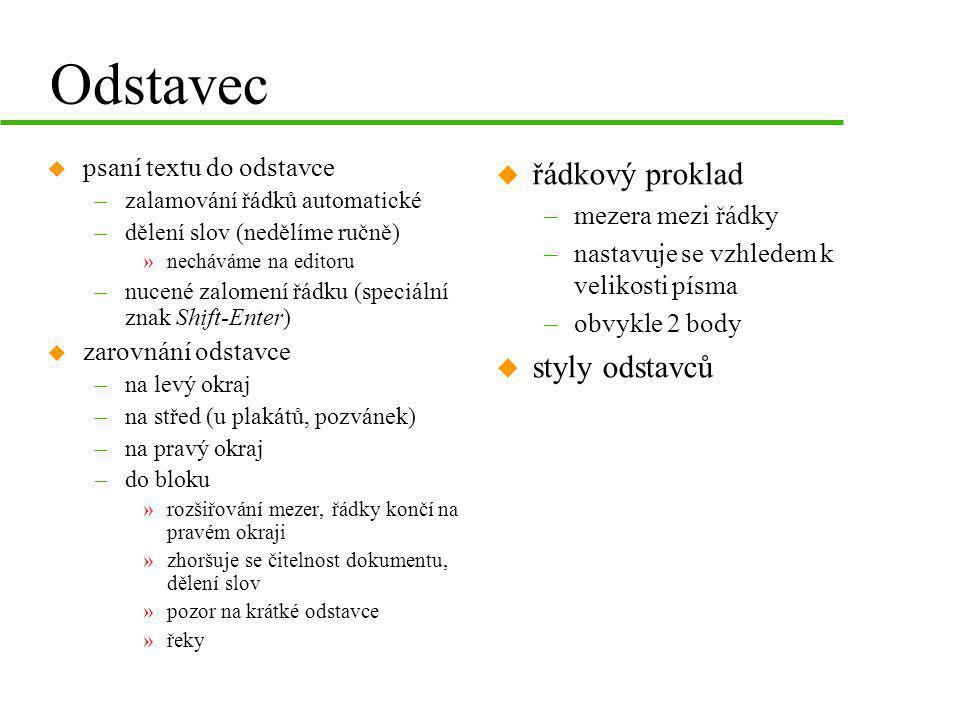 Odstavec řádkový proklad styly odstavců psaní textu do odstavce