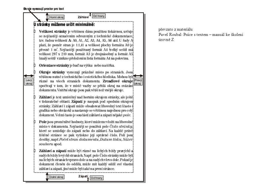převzato z materiálu Pavel Roubal: Práce s textem – manuál ke školení úrovně Z