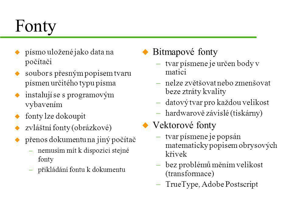 Fonty Bitmapové fonty Vektorové fonty