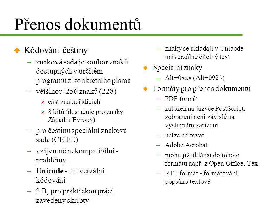 Přenos dokumentů Kódování češtiny