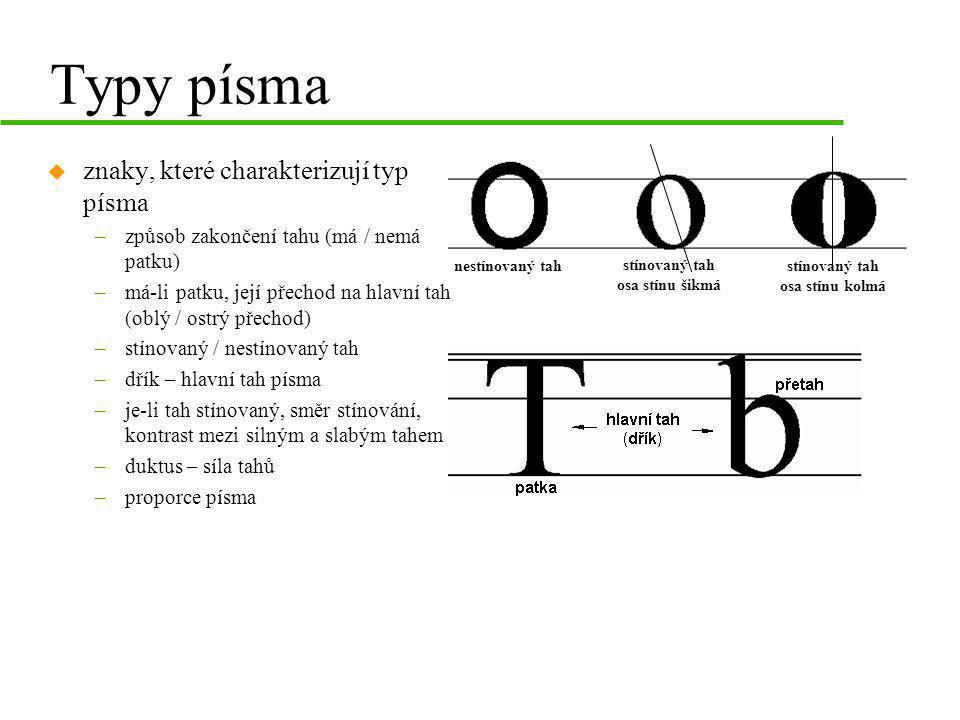 Typy písma znaky, které charakterizují typ písma