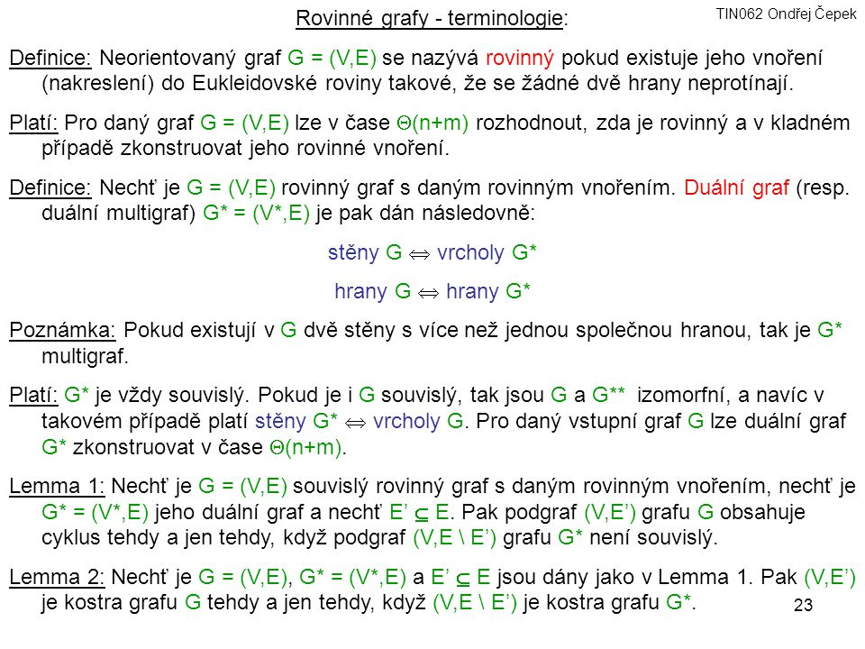 Rovinné grafy - terminologie: