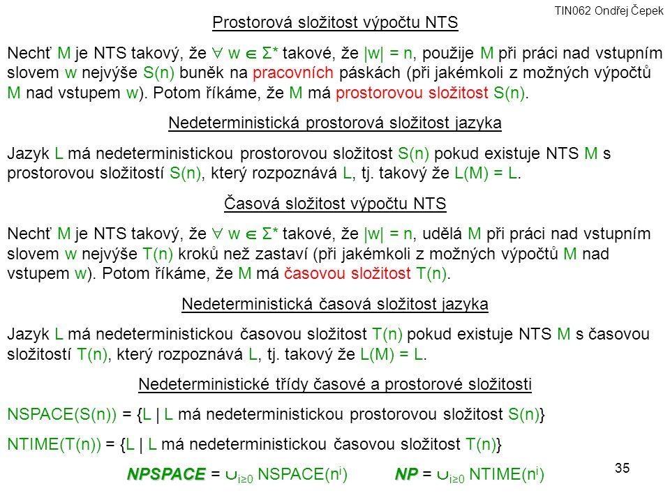Prostorová složitost výpočtu NTS