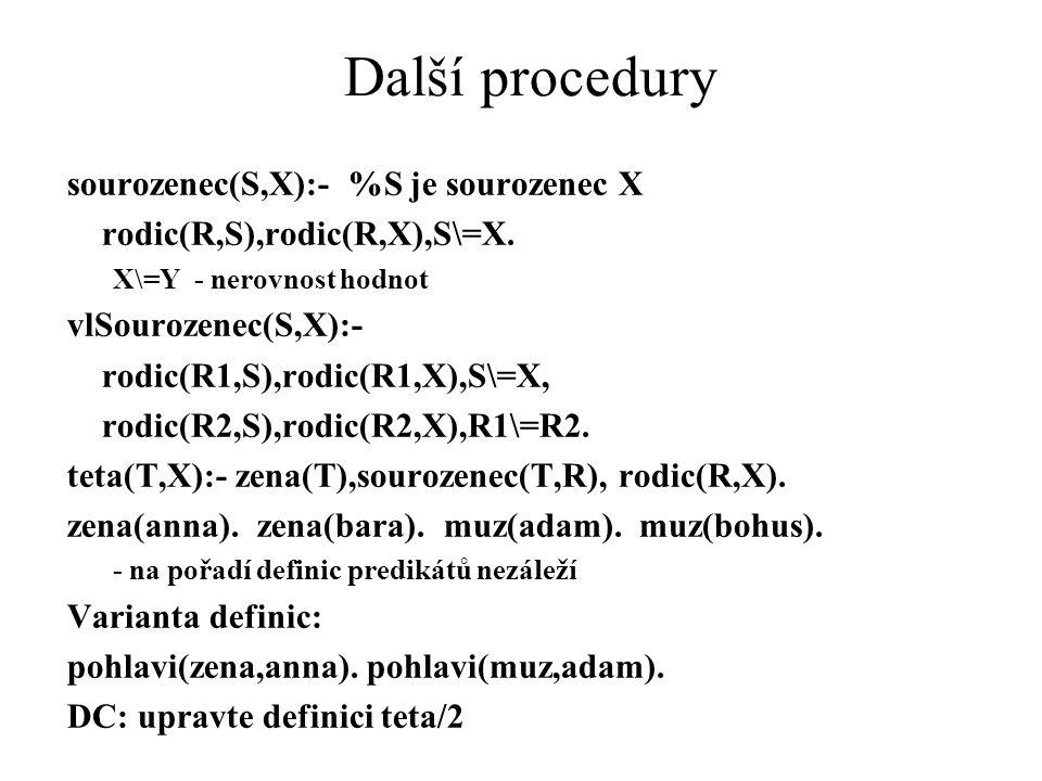 Další procedury sourozenec(S,X):- %S je sourozenec X