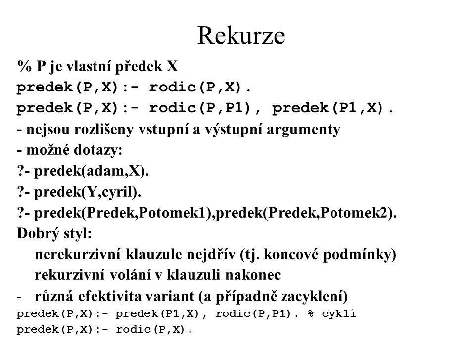 Rekurze % P je vlastní předek X predek(P,X):- rodic(P,X).