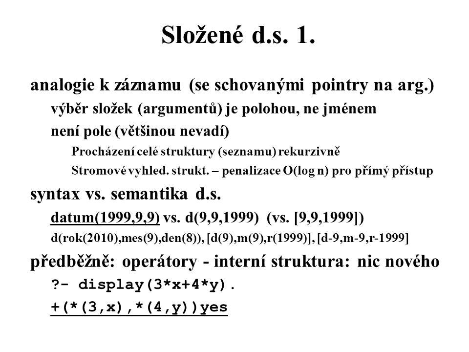 Složené d.s. 1. analogie k záznamu (se schovanými pointry na arg.)