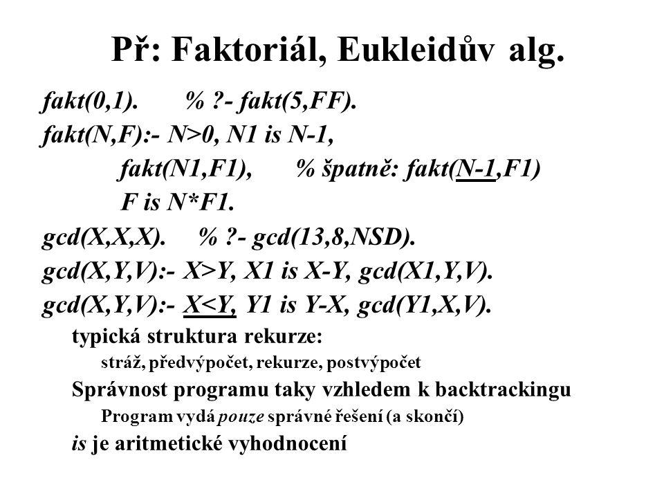 Př: Faktoriál, Eukleidův alg.