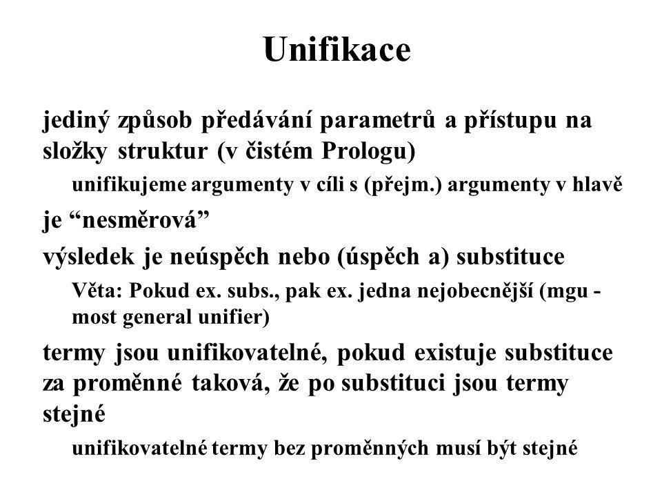 Unifikace jediný způsob předávání parametrů a přístupu na složky struktur (v čistém Prologu)