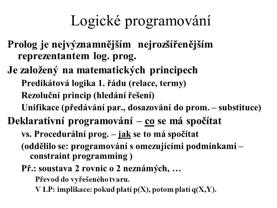 Logické programování Prolog je nejvýznamnějším nejrozšířenějším reprezentantem log. prog. Je založený na matematických principech.