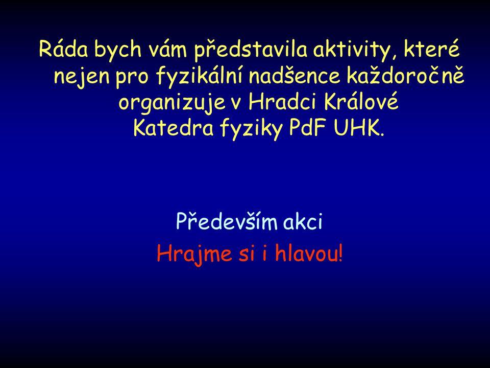 Ráda bych vám představila aktivity, které nejen pro fyzikální nadšence každoročně organizuje v Hradci Králové Katedra fyziky PdF UHK.