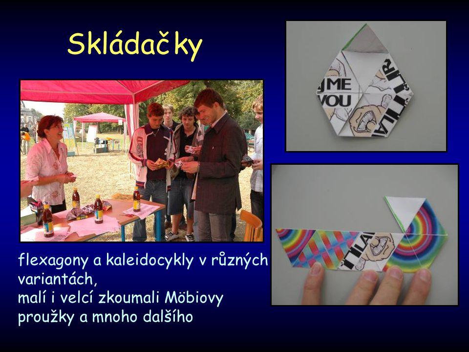 Skládačky flexagony a kaleidocykly v různých variantách,