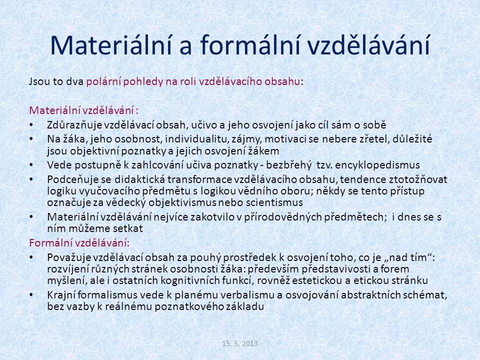 Materiální a formální vzdělávání