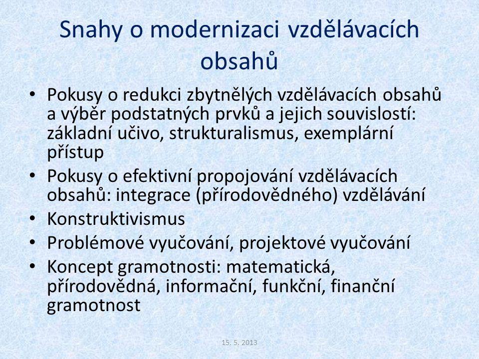 Snahy o modernizaci vzdělávacích obsahů