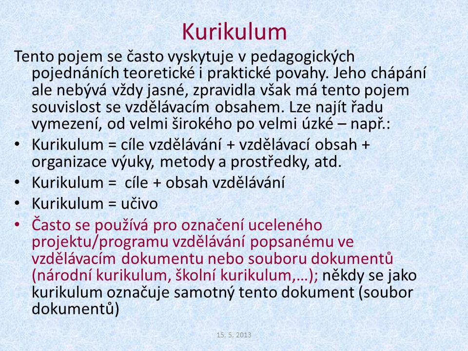 Kurikulum = cíle + obsah vzdělávání Kurikulum = učivo