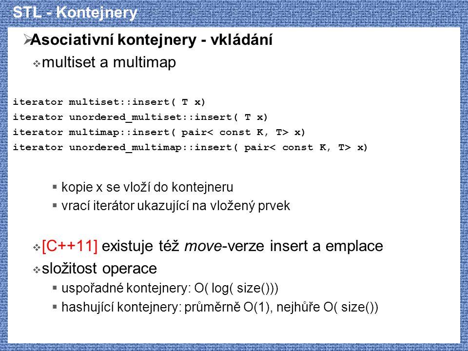 Asociativní kontejnery - vkládání multiset a multimap