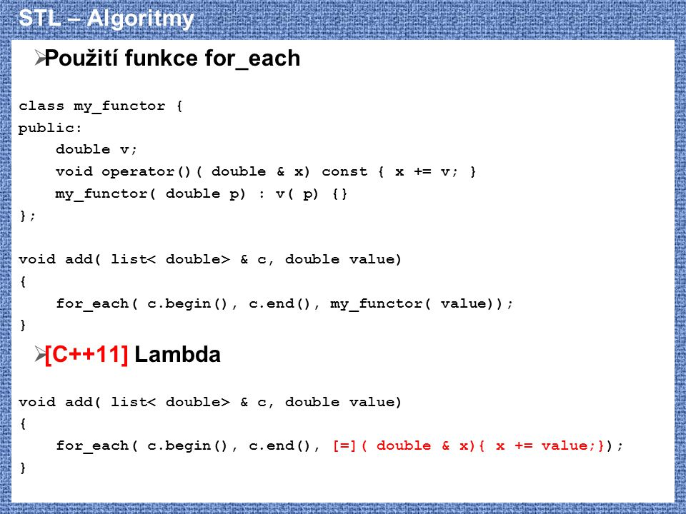 Použití funkce for_each