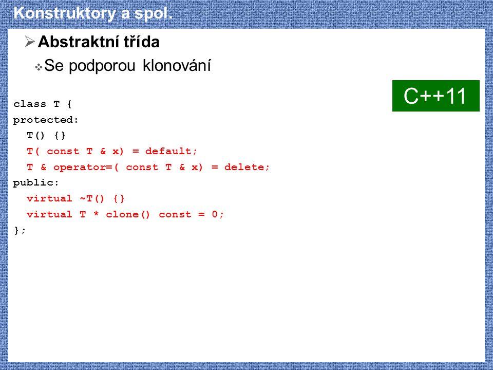 C++11 Konstruktory a spol. Abstraktní třída Se podporou klonování