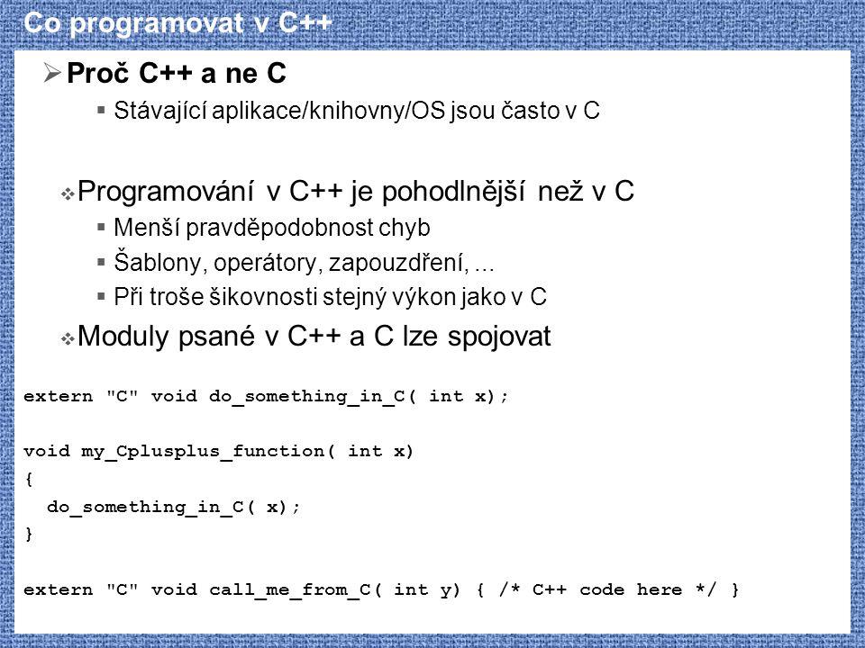 Programování v C++ je pohodlnější než v C