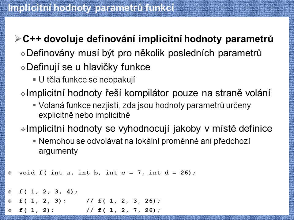 Implicitní hodnoty parametrů funkcí