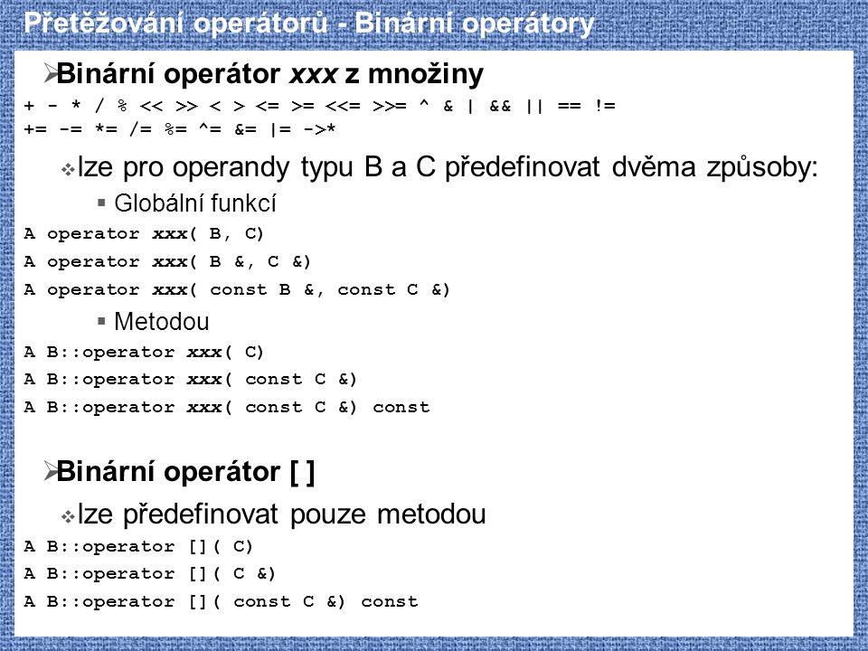 Přetěžování operátorů - Binární operátory