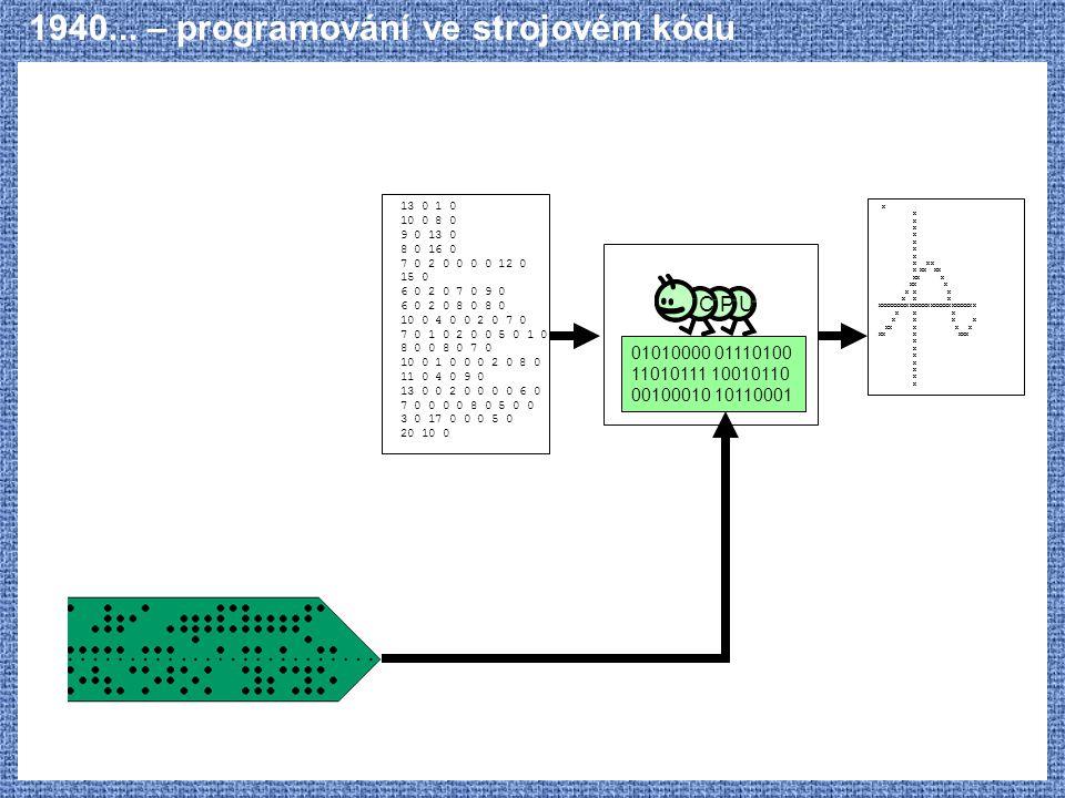 1940... – programování ve strojovém kódu