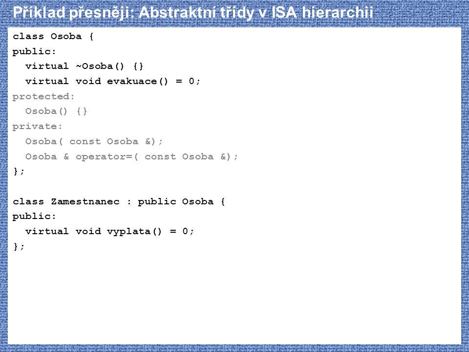 Příklad přesněji: Abstraktní třídy v ISA hierarchii