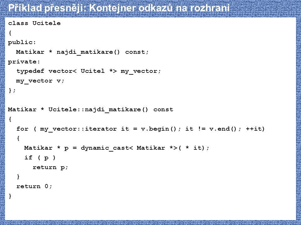 Příklad přesněji: Kontejner odkazů na rozhraní
