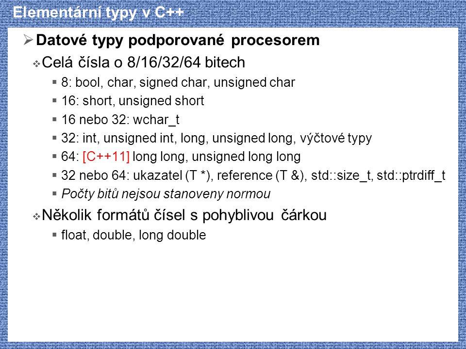 Datové typy podporované procesorem Celá čísla o 8/16/32/64 bitech