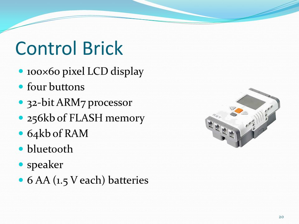 Control Brick 100×60 pixel LCD display four buttons