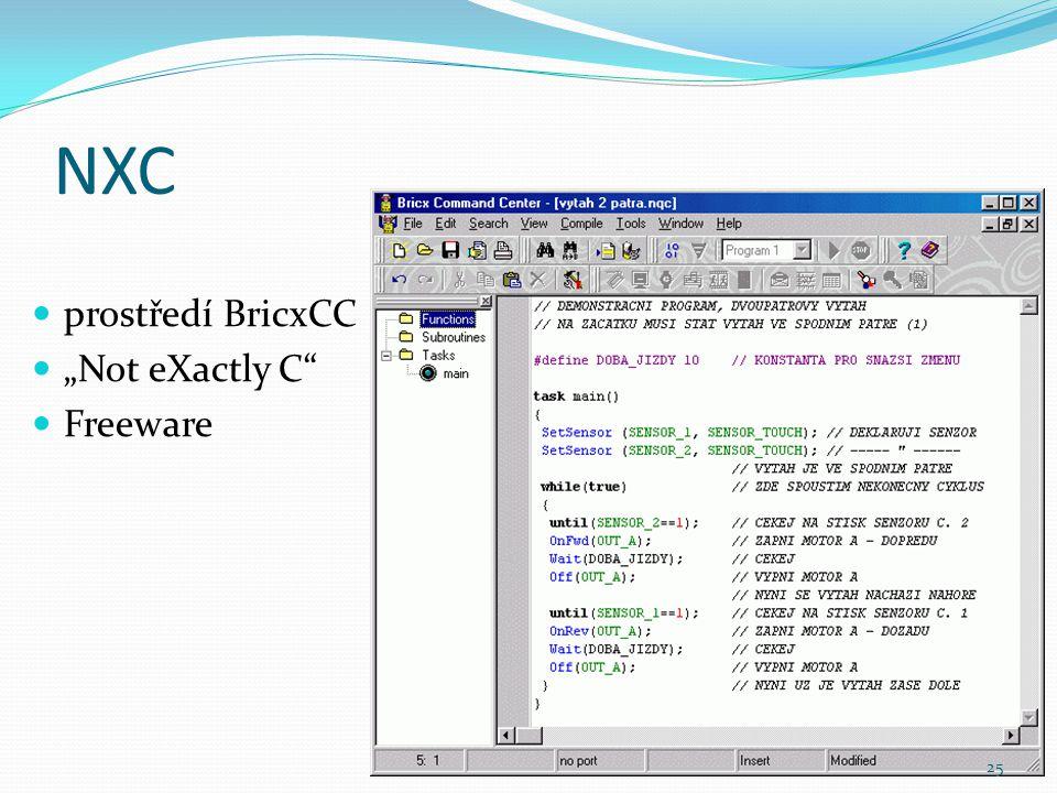 """NXC prostředí BricxCC """"Not eXactly C Freeware"""