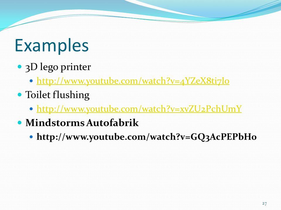 Examples 3D lego printer Toilet flushing Mindstorms Autofabrik