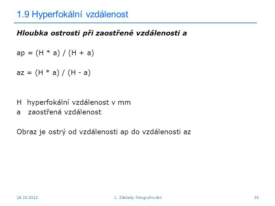 1.9 Hyperfokální vzdálenost