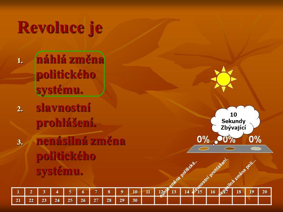 Revoluce je náhlá změna politického systému. slavnostní prohlášení.