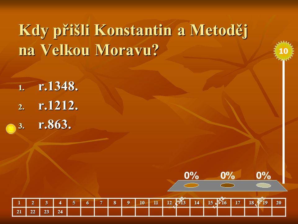 Kdy přišli Konstantin a Metoděj na Velkou Moravu
