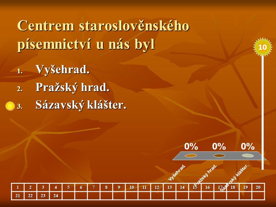 Centrem staroslověnského písemnictví u nás byl