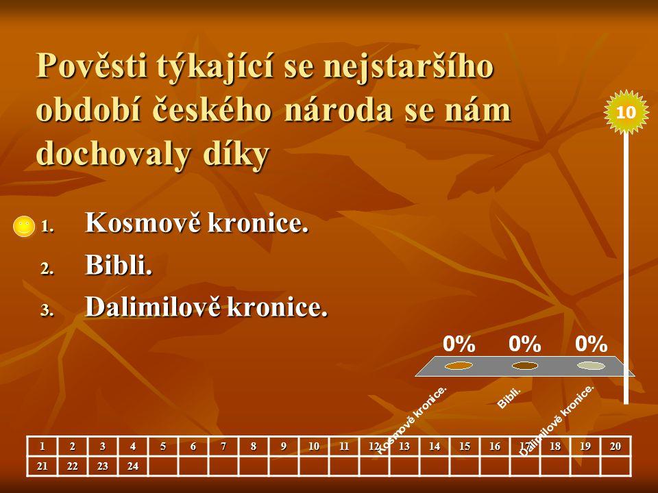 Pověsti týkající se nejstaršího období českého národa se nám dochovaly díky