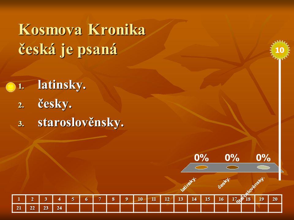 Kosmova Kronika česká je psaná