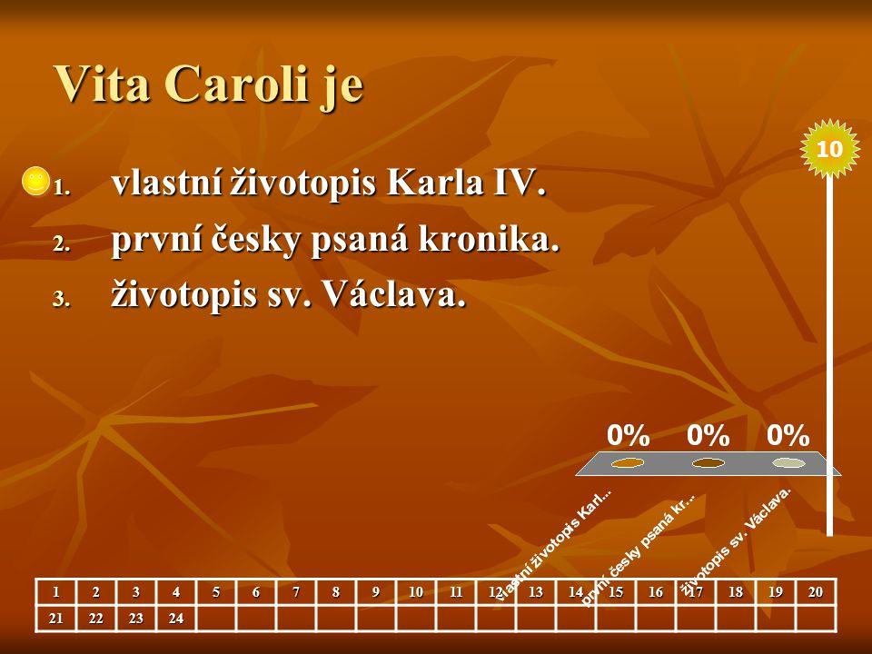 Vita Caroli je vlastní životopis Karla IV. první česky psaná kronika.