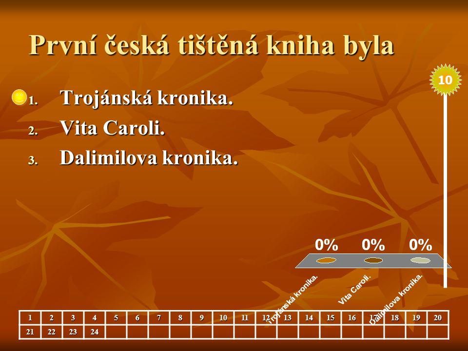 První česká tištěná kniha byla