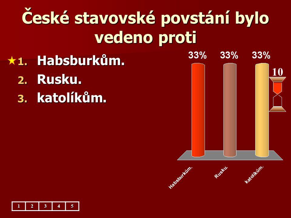 České stavovské povstání bylo vedeno proti