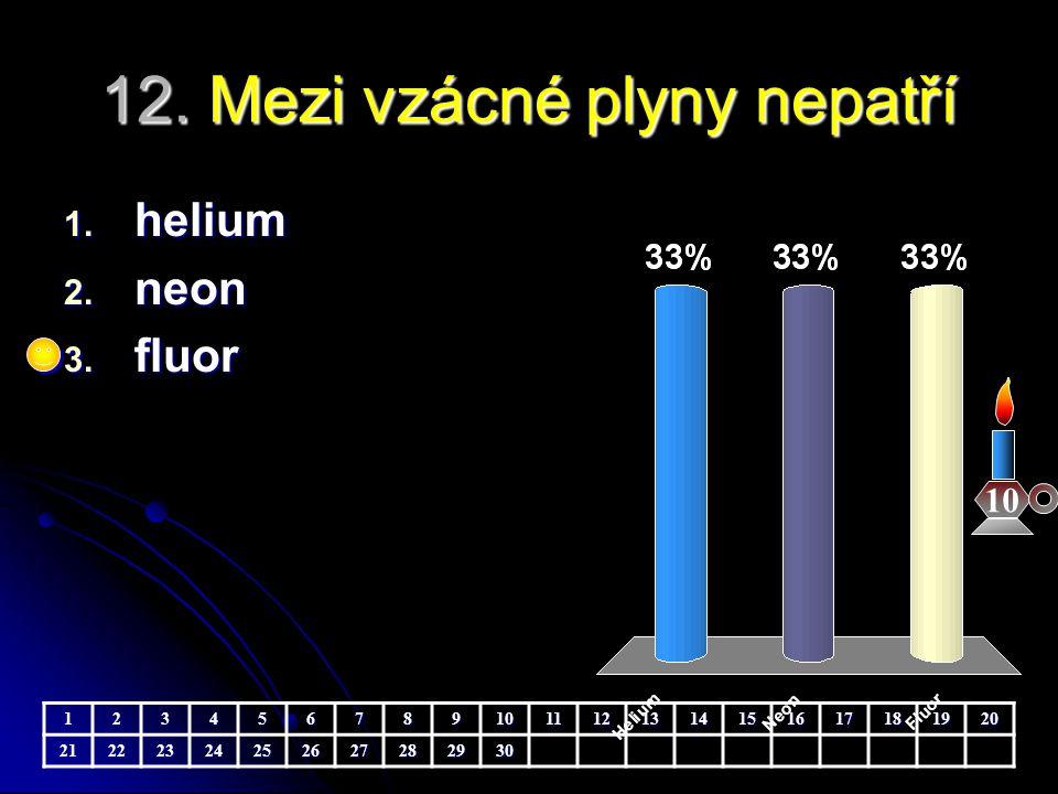 12. Mezi vzácné plyny nepatří