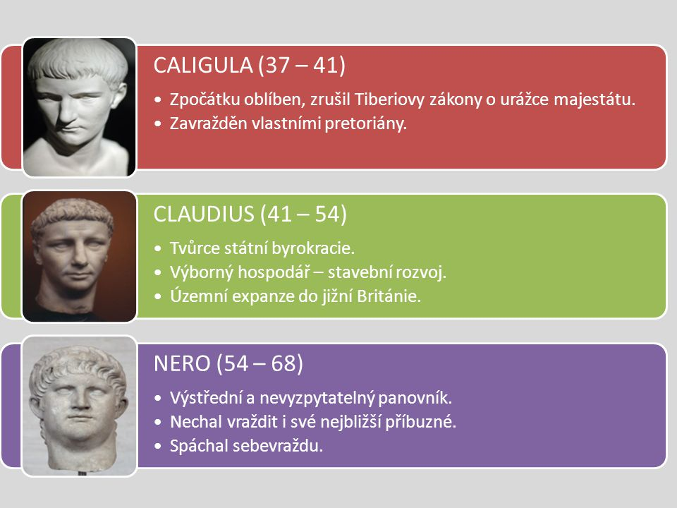 CALIGULA (37 – 41) CLAUDIUS (41 – 54) NERO (54 – 68)