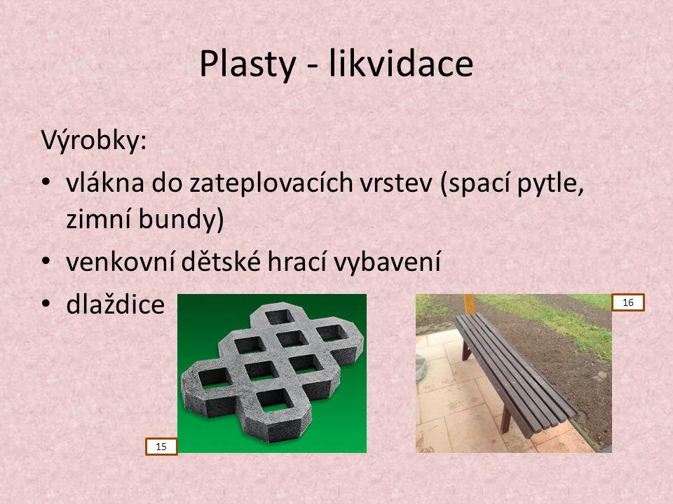Plasty - likvidace Výrobky: