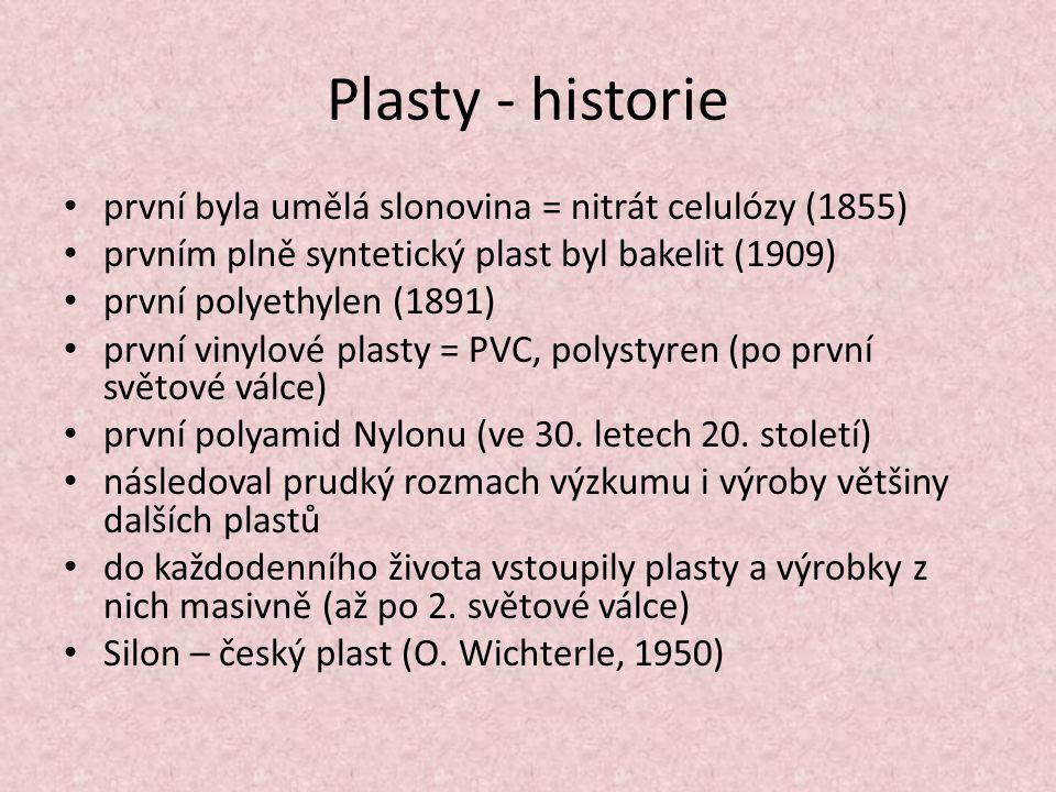 Plasty - historie první byla umělá slonovina = nitrát celulózy (1855)